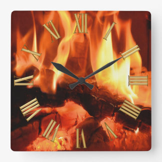 Burning Fireplace Flames I Square Wall Clock