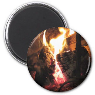 Burning fireplace with fire flames 2 inch round magnet