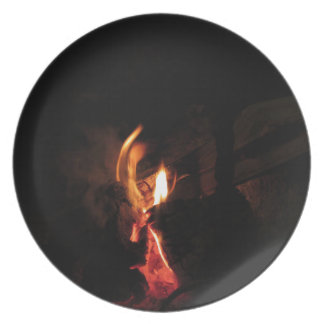 Burning fireplace with fire flames dinner plate