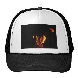 Burning fireplace with fire flames trucker hat
