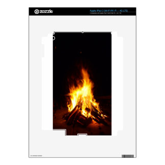 Burning firewood at night photograph decal for iPad 3