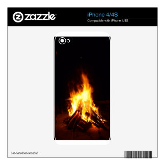 Burning firewood at night photograph decals for the iPhone 4S