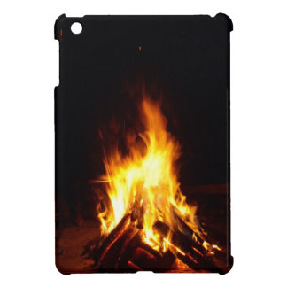 Burning firewood at night photograph iPad mini case