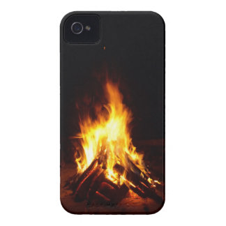 Burning firewood at night photograph iPhone 4 case