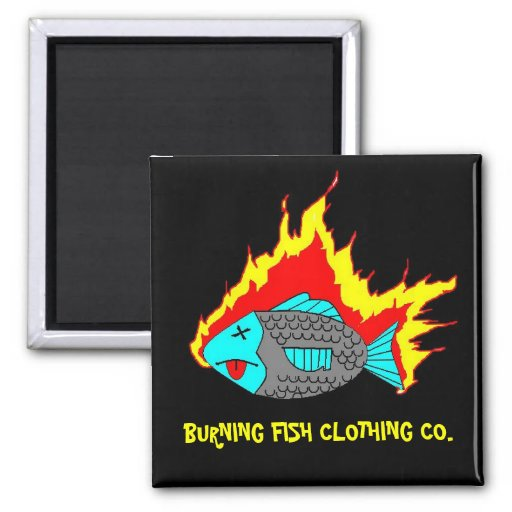 BURNING FISH LOGO 2 INCH SQUARE MAGNET