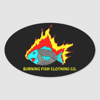BURNING FISH LOGO OVAL STICKER