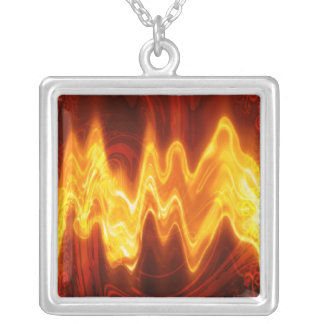 Burning Flame Sterling Silver Necklace Pendent