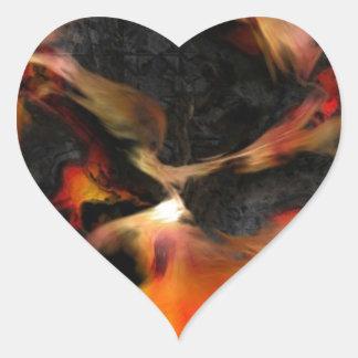 Burning Flames Heart Sticker