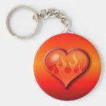 Burning Flaming Heart Basic Round Button Keychain
