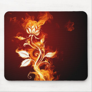 Burning flower mouse pad
