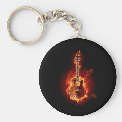 Burning Guitar Basic Round Button Keychain