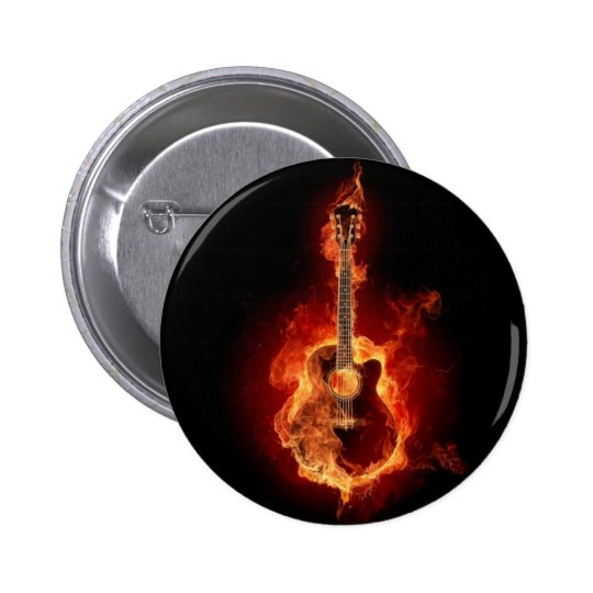 Burning Guitar Button