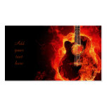 Burning Guitar Orange Flames, Music Business Cards