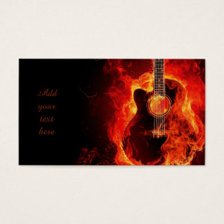 Burning Guitar Orange Flames, Music Business Cards