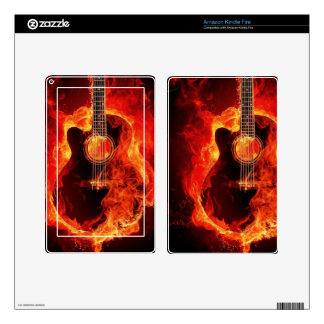 Burning Guitar, Orange Flames Music Rock Band Decals For Kindle Fire