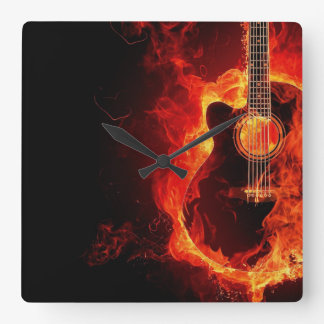 Burning Guitar, Orange Flames Music Rock Band Square Wall Clock