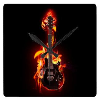 Burning Guitar Wall Clock