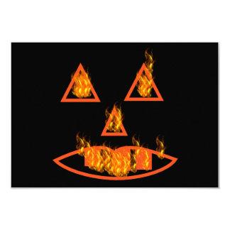 Burning Halloween Pumpkin 3.5x5 Paper Invitation Card