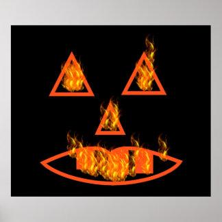 Burning Halloween Pumpkin Poster