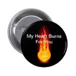 Burning Heart 2 Inch Round Button