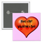 Burning Heart 2 Inch Square Button
