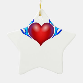 Burning heart love you ceramic ornament