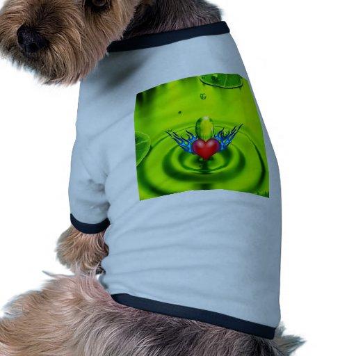 Burning heart love you dog t-shirt