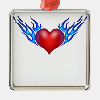 Burning heart love you metal ornament