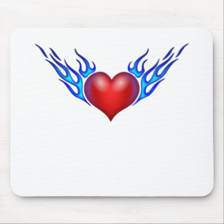 Burning heart love you mouse pad