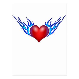 Burning heart love you postcard