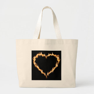 Burning Heart of Fire Black Dark Love Graphics Jumbo Tote Bag