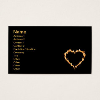 Burning Heart of Fire Black Dark Love Graphics Business Card