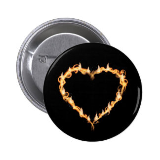 Burning Heart of Fire Black Dark Love Graphics 2 Inch Round Button