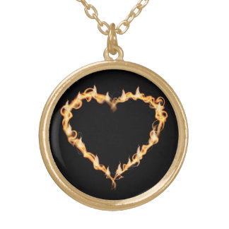 Burning Heart of Fire Black Dark Love Graphics Gold Plated Necklace