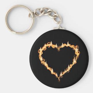 Burning Heart of Fire Black Dark Love Graphics Basic Round Button Keychain
