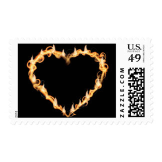 Burning Heart of Fire Black Dark Love Graphics Postage