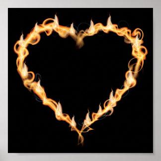 Burning Heart of Fire Black Dark Love Graphics Poster
