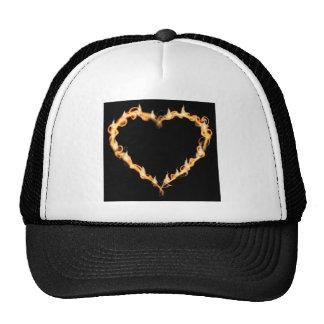 Burning Heart of Fire Black Dark Love Graphics Trucker Hat