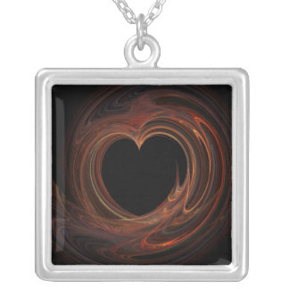 Burning Heart on Square Necklace