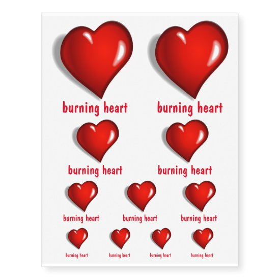 Burning Heart or Valentine Initials Temporary Tattoos