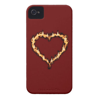 Burning Heart  (Red Background) iPhone 4 Case