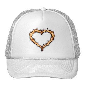 Burning Heart (White Background) Mesh Hats