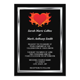Burning heart with chrome border biker wedding card