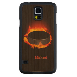 Burning Hockey Puck Carved® Cherry Galaxy S5 Case