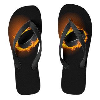 Burning Hockey Puck Flip Flops
