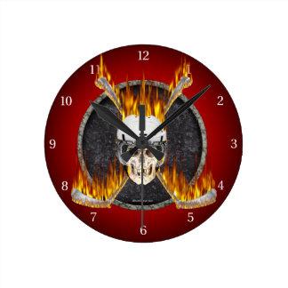 Burning Hockey Sticks Wall Clock