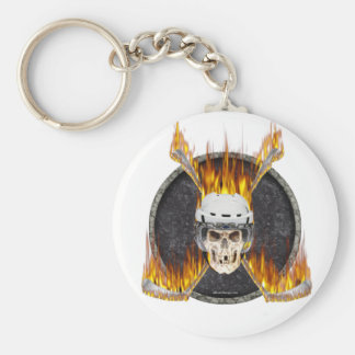 Burning Hockey Sticks Key Chains