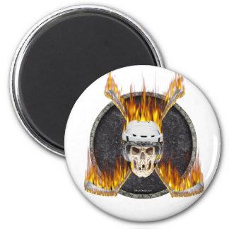 Burning Hockey Sticks Fridge Magnet