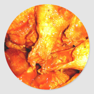 Burning Hot Saucy Wings Classic Round Sticker