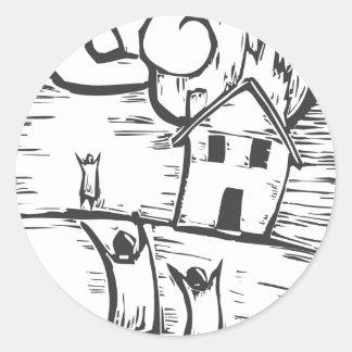 Burning House Classic Round Sticker